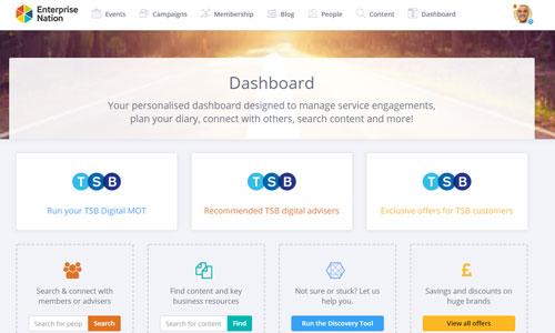 Screen shot of the Enterprise Nation dashboard